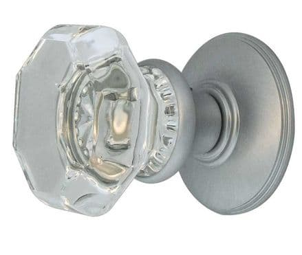 Frelan Hardware JH7020SC Flower Glass Mortice Knob Set Glass/Satin Chrome