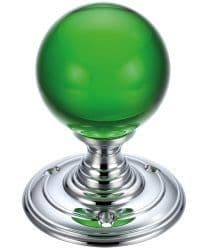 Fulton & Bray FB300CPG Plain Green Glass Ball Mortice Knob Plain Polished Chrome