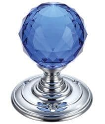 Fulton & Bray FB301CPB Facetted Blue Glass Ball Mortice Knob Plain Polished Chrome