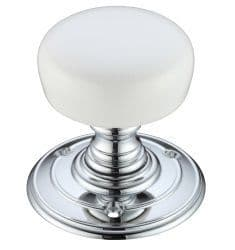 Fulton & Bray FB304PWCP Porcelain Mortice Knob Polished Chrome/Plain White