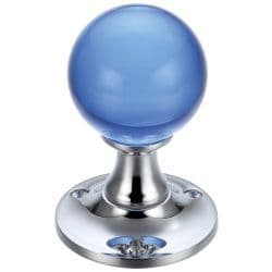 Fulton & Bray FB400CPB Blue Glass Ball Mortice Knob Plain Polished Chrome