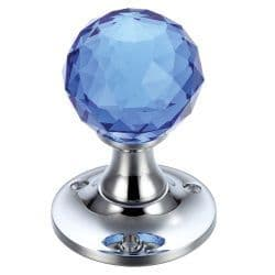 Fulton & Bray FB401CPB Facetted Blue Glass Ball Mortice Knob Plain Polished Chrome