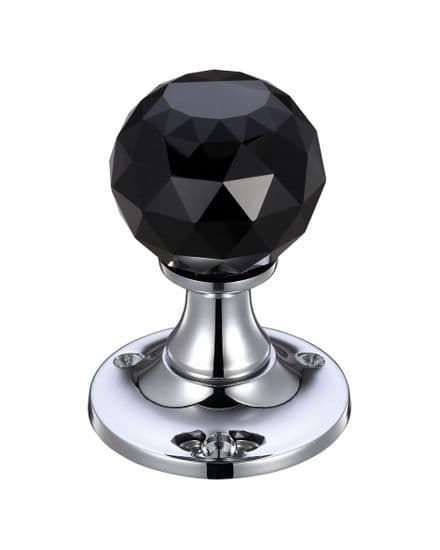 Fulton & Bray FB401CPBL Facetted Black Glass Ball Mortice Knob Plain Polished Chrome