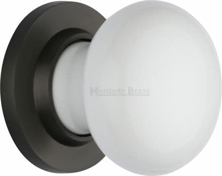 M Marcus Heritage Brass 5010MB White Porcelain Mortice Knob On Matt Bronze Rose