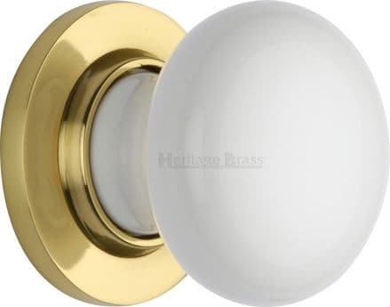 M Marcus Heritage Brass 5010PB White Porcelain Mortice Knob On Polished Brass Rose