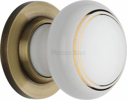M Marcus Heritage Brass 6010AT White/Gold Line Porcelain Mortice Knob On Antique Brass Rose