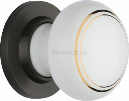 M Marcus Heritage Brass 6010MB White/Gold Line Porcelain Mortice Knob On Matt Bronze Rose