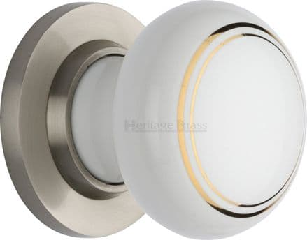 M Marcus Heritage Brass 6010SN White/Gold Line Porcelain Mortice Knob On Satin Nickel Rose