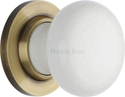 M Marcus Heritage Brass 7010AT White Crackle Porcelain Mortice Knob On Antique Brass Rose