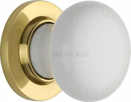 M Marcus Heritage Brass 7010PB White Crackle Porcelain Mortice Knob On Polished Brass Rose