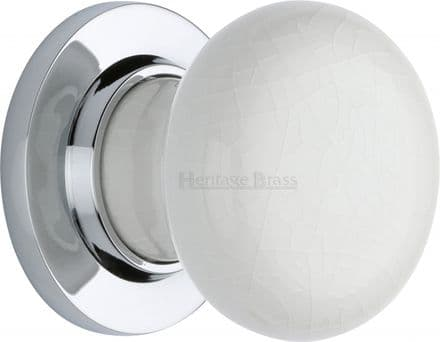 M Marcus Heritage Brass 7010PC White Crackle Porcelain Mortice Knob On Polished Chrome Rose