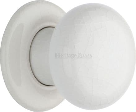 M Marcus Heritage Brass 7010PR White Crackle Porcelain Mortice Knob On Porcelain Rose