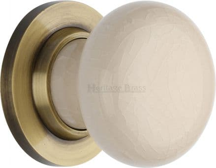 M Marcus Heritage Brass 8010AT Cream Crackle Porcelain Mortice Knob On Antique Brass Rose