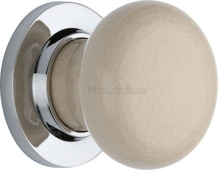 M Marcus Heritage Brass 8010PC Cream Crackle Porcelain Mortice Knob On Polished Chrome Rose