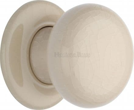 M Marcus Heritage Brass 8010PR Cream Crackle Porcelain Mortice Knob On Porcelain Rose