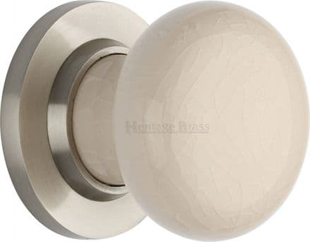 M Marcus Heritage Brass 8010SN Cream Crackle Porcelain Mortice Knob On Satin Nickel Rose
