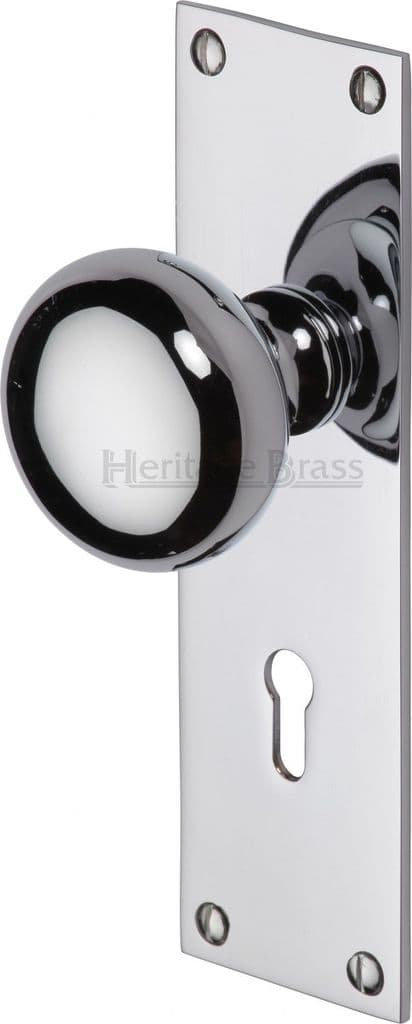 M Marcus Heritage Brass BAL8500PC Balmoral Mortice Knob On Lock Backplate Polished Chrome