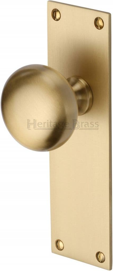 M Marcus Heritage Brass BAL8510SB Balmoral Mortice Knob On Latch Backplate Satin Brass