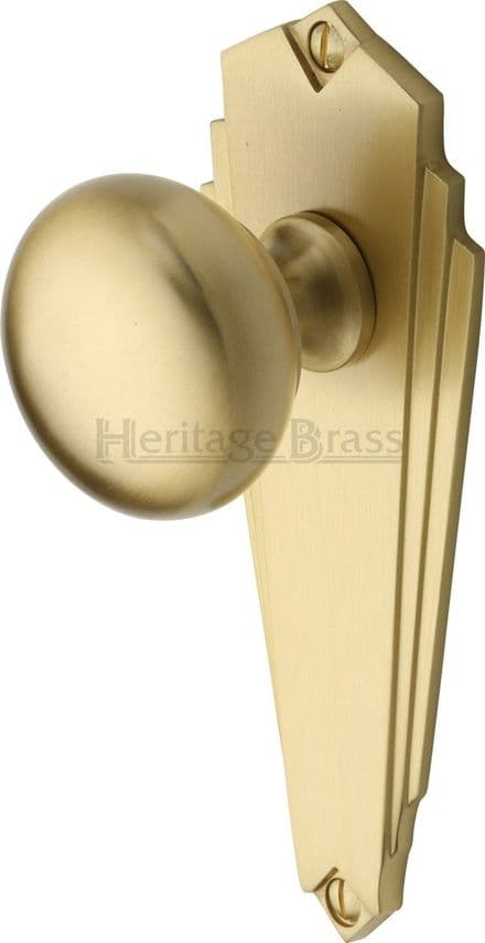 M Marcus Heritage Brass BR1810SB Broadway Mortice Knob On Latch Backplate Satin Brass
