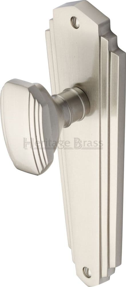 M Marcus Heritage Brass CHA1910SN Charlston Mortice Knob On Latch Backplate Satin Nickel