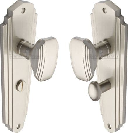 M Marcus Heritage Brass CHA1930SN Charlston Mortice Knob On Bathroom Backplate Satin Nickel