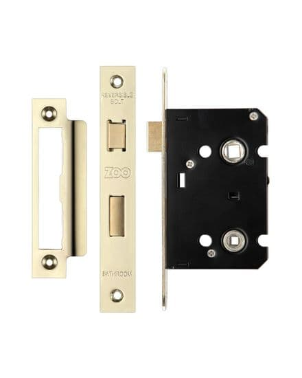 Zoo Hardware ZBC76PVD Contract Mortice Bathroom Lock 76mm Electro Brass