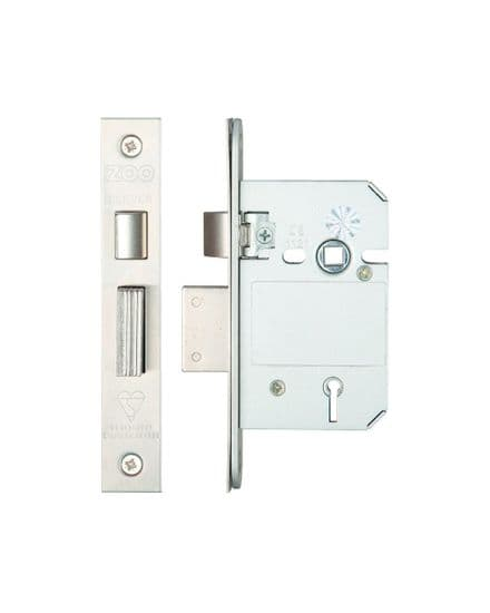 Zoo Hardware ZBSS64SSS British Standard 5 Lever Sashlock 64mm Satin Stainless Steel