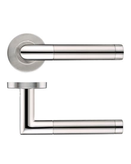 Zoo Hardware ZCS2110SSPS Mitred Door Handle On Round Rose Dual Finish Satin/Polished Stainless Steel