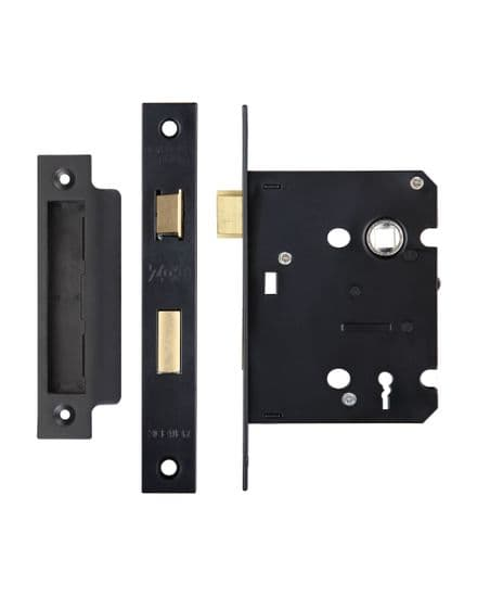 Zoo Hardware ZSC376PCB 3 Lever Sashlock 76mm Powder Coated Black