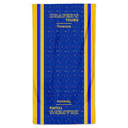 Draper's Tours Mysteries Personalised Beach Towel Printed Design - Dial M For Middlesbrough
