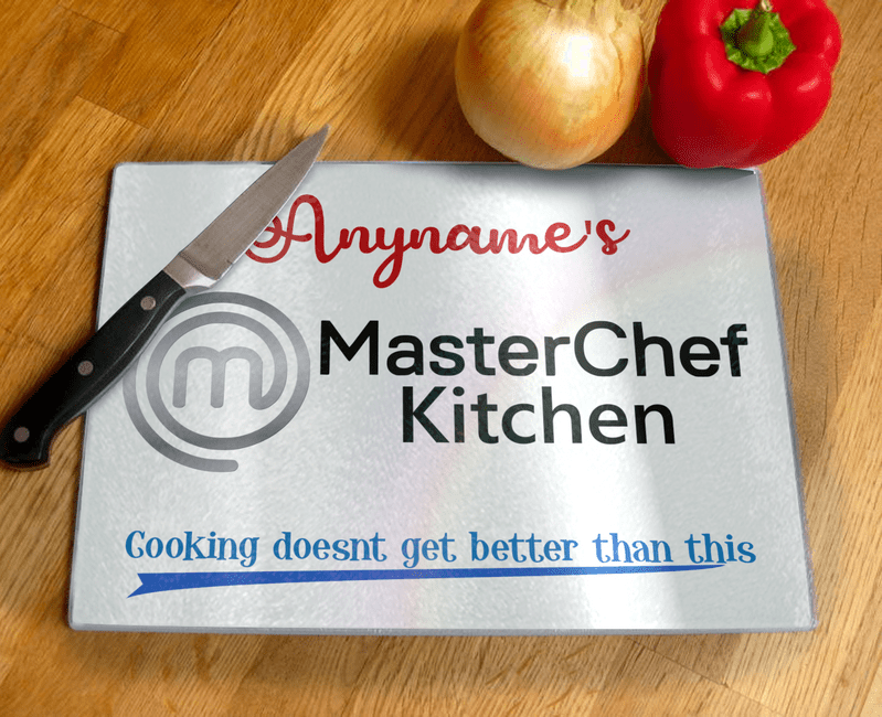 Personalised MasterChef Kitchen Tempered Glass Chopping Board