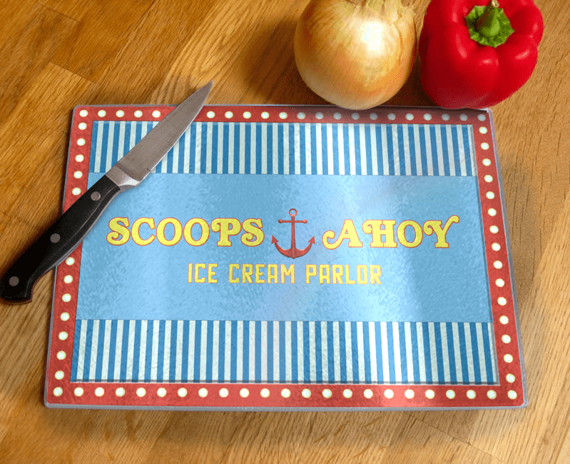 Scoops Ahoy Ice Cream Parlor Glass Chopping Board Based On Stranger Things