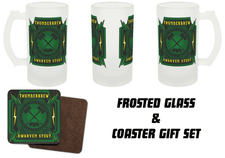 Thunderbrew Dwarven Stout Printed Frosted Glass & Coaster Gamer Gift Set