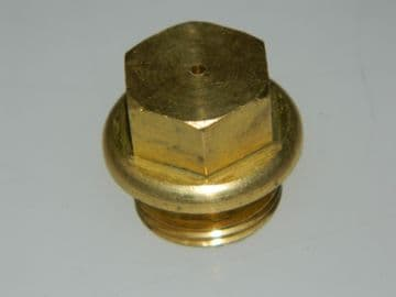 """1 x 3/8"""" BSP Plug Brass Flanged Drilled Hole in Head [C9]"""