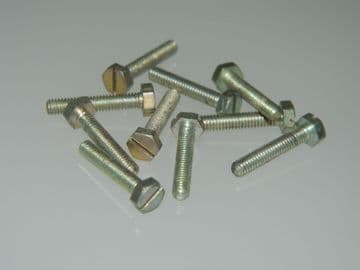"10 x 6BA Screws Slotted Hex Head Steel Length 5/8"" [A7]"