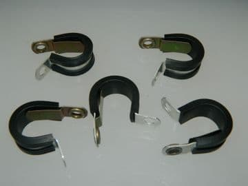"""5 x 1/2"""" Pipe Clip With Earthing Tongue Rubber Covered Part AS4525-08 [Q20]"""