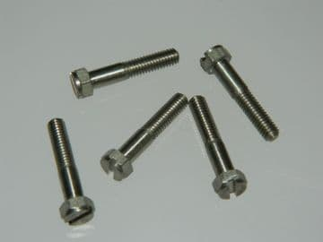 5 x M4 Bolts Slotted Hex Head Stainless Steel Length 21mm [C12]