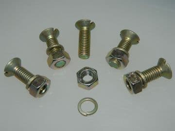 5 x M8 Bolts CSK Slotted Head Nut and Spring Washer Pack Length 25mm [Y15]
