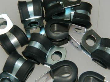 Support Clamp Rubber Covered P Clamp For 10mm Pipe or Cable 20mm Wide [S10]