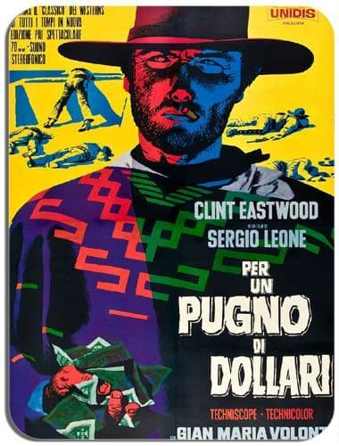 A Fistful of Dollars Vintage Movie Poster Mouse Mat. Spaghetti Western Mousepad