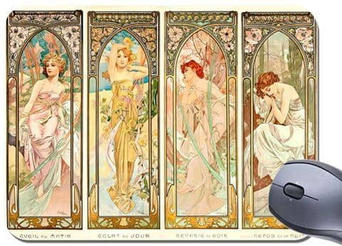 Alphonse Alfons Mucha Times Of The Day Mouse Mat.