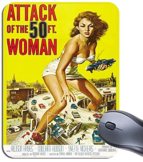 Attack Of The 50 Foot Woman Movie Poster Mouse Mat Vintage Sci Fi Film Mouse Pad