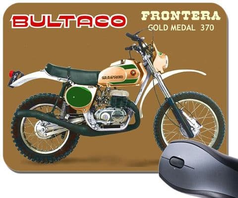 Bultaco Frontera 370 Gold Medal Motorcycle Mouse Mat. Classic Bike Mouse Pad