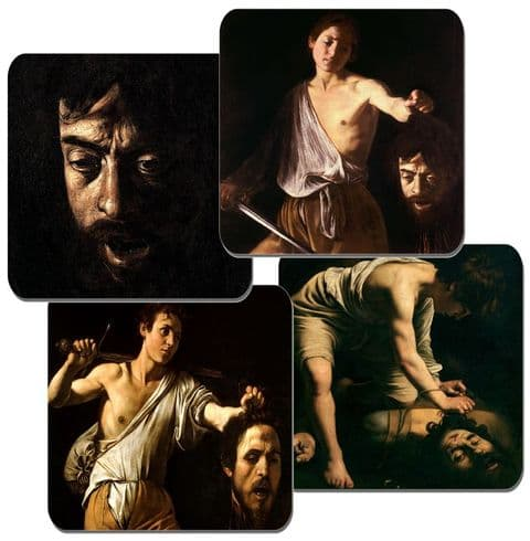 Caravaggio David with the Head of Goliath Coasters Set Of 4 High Quality Cork