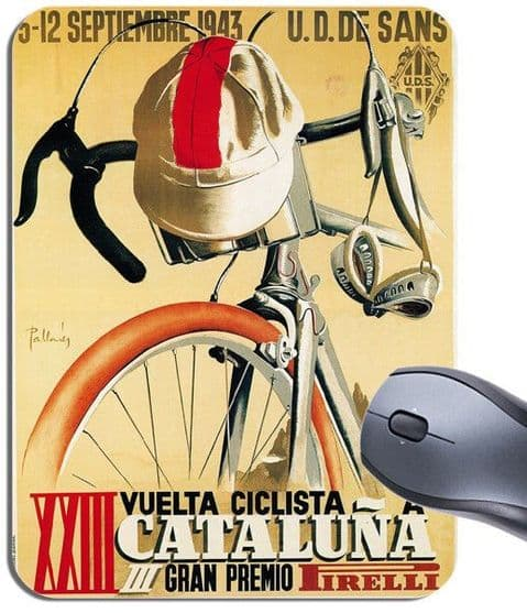 Ciclista a Cataluna 1943 Poster Mouse Mat. Vintage Catalunya Cycling Mouse Pad. Bicycle Gift