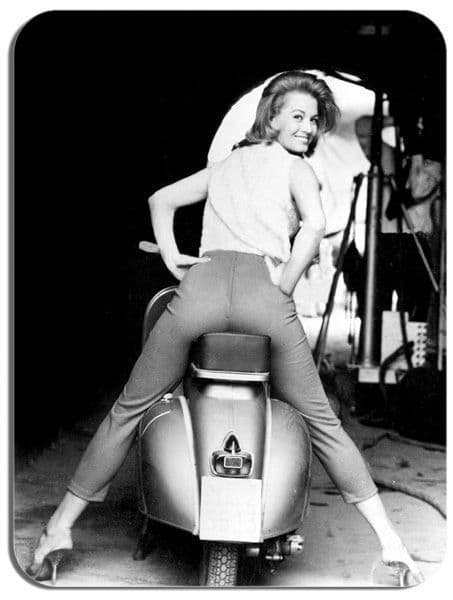 Classic Scooter with Angie Dickinson Mouse Mat. Movie Star Mod Mouse pad Gift