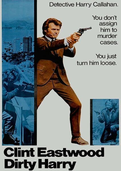 Clint Eastwood Dirty Harry T-Shirt Gents Ladies Kids Sizes. Vintage Movie Poster Film Gift