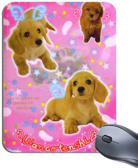 Cute Kawaii Puppy Dog Angels Mouse Mat. Puppies Mouse pad. Japanese Wan Wan