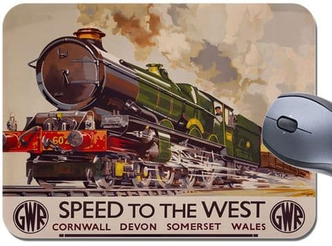 Devon Cornwall Wales Vintage Railway Poster Mouse Mat Speed West Train Mouse Pad