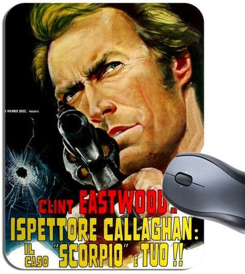 Dirty Harry Vintage Italian Movie Poster Mouse Mat Clint Eastwood Film Mouse Pad